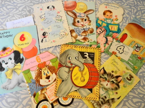 Juvenile Vintage Birthday Cards Lot No. 3-Birthdays By the Numbers-Lion, Mouse, Elephant, etc.-8