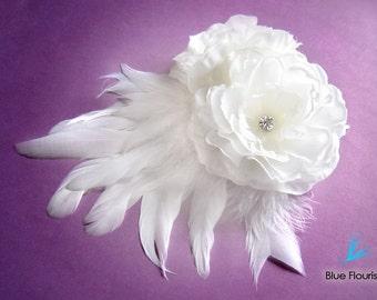 Hair Clip Bridal Hair Accessories White Wedding Flower Wedding Hair Accessories Wedding Hair Fascinator Wedding Headpiece Bridal Hair Flower