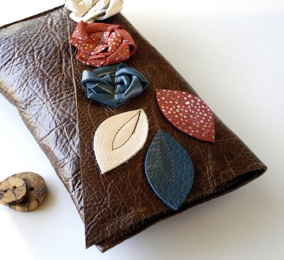 Leather Clutch - RUSTIC - Triple Flower Blooms with Triple Leaves with Raw Edge
