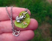 "A Layered Necklace: ""Charming, The Toad"" - A layered necklace with handmade lily pad and little toad charm."