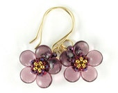 Handcrafted Violet Blossom Beaded Earrings