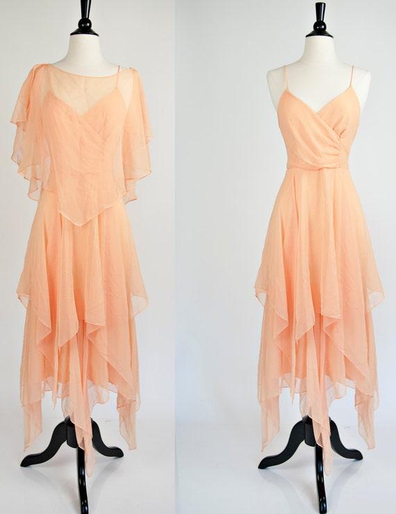 High Low Hem Peach Sweetheart Spaghetti Strap Boho Goddess Dress S