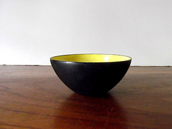 Vintage Krenit Yellow and Black Enamel Mini Bowl, Herbert Krenchel, Danish Modern