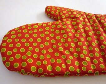 Men's Red and Green Oven Mitt