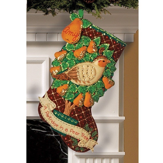 Bucilla Felt 18 inch Stocking Kit - Partridge In A Pear Tree - Christmas