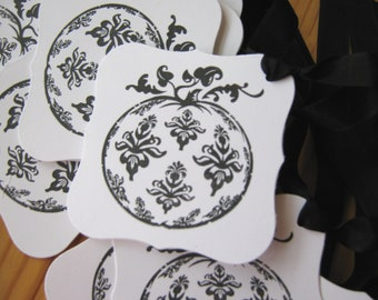 Black and White Damask Pumpkin Gift Tags, Wedding Wish Tags