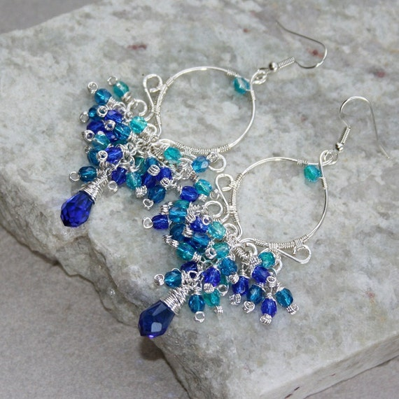 Shades Of Blue Silverplated  Chandelier Earrings-FREE SHIPPING