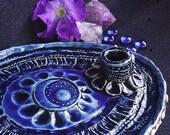 Pagan Candle Holder  Smudge Tray -  Crescent Moon, Stars, Seashells, Pleiades - Cobalt Midnight Blue - Ornate Spiritual Symbolism