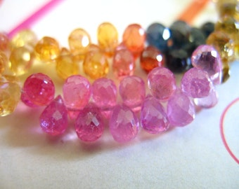Shop Sale.. PINK SAPPHIRE Briolettes Beads, Teardrops, Luxe AAA, 3 pcs, 4-5.5 mm, september birthstone songea precious jj