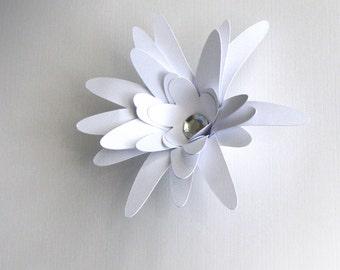 White paper flowers for weddings, gifts, or scrapbooking set of 12