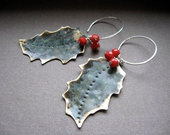 Bronze brushed patina holly leaf earrings  with red coral berries