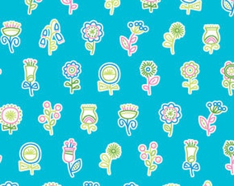 Summersault Flowerpop in Turquoise by Erin McMorris for Free Spirit - 1 Yard