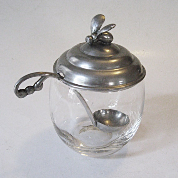 Vintage Bee Honey Pot or Jar  Glass with Aluminum Lid and Ladle