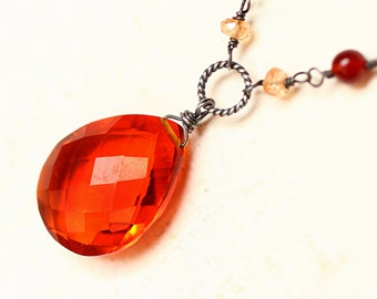 Orange Quartz Necklace with Gemstones on Oxidized Sterling Silver - Sol by CircesHouse on Etsy