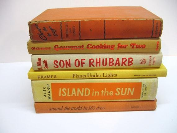 Vintage Orange & Yellow Book Bundle - Shabby Library - Home Decor - Photo Prop - Wedding Decor - Summer Decor - Citrus
