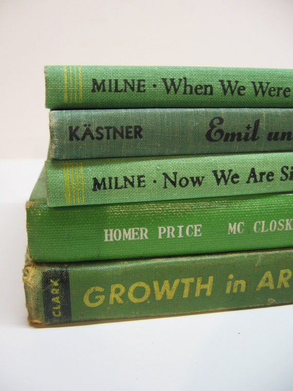 Vintage Shades of Green Book Bundle - Kids Titles - Shabby Library - Home Decor - Photo Prop