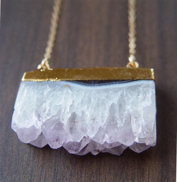 Vanilla Amethyst Stalactite Necklace - Druzy Necklace - 14k Gold