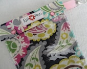 XL Epi Pen Carrier w/ Clear Pocket and Clip Holds 2 Allergy Pens / Antihistamine  (6x8 Paisley on Gray Fabric)