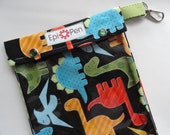 XL Epi Pen Carrier w/ Clear Pocket and Clip Holds 2 Allergy Pens / Antihistamine/ First Aid (6x8 Dinosaurs Fabric)