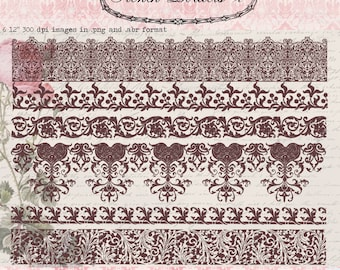 Vintage French Borders 2, digital clip art and photoshop brushes: Commercial and Personal Use No.4