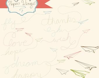 Instant Download -Paper Wings: Digital Clipart Set