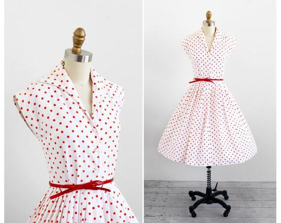 vintage 1950s dress / 50s dress / White and Orange Polka Dot Dress