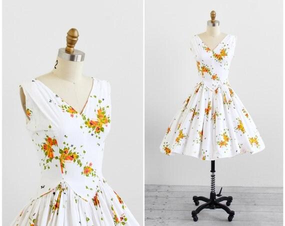 vintage 1950s dress / butterfly dress / 50s Butterflies Print Cotton Sundress