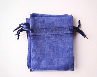 100 Organza Bags 3x4 inch Navy Blue