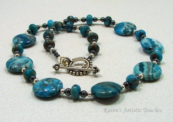 Stunning Blue Crazy Lace Agate Hematite Gemstone Beaded Necklace