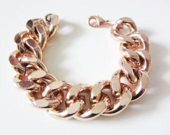 Oversize Chunky Rose Gold Chain Bracelet