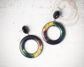 Green galaxy earrings - Space earrings - Green universe earrings - Green nebula earrings - Space jewelry - Green earrings (E111)
