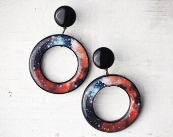 Red galaxy earrings - Space earrings - Universe earrings - Red nebula earrings - Space jewelry (E110)