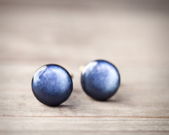 Navy Blue Cufflinks for men - Pluto Cufflinks - Solar System - Space Cufflinks - Planet Cufflinks - Fathers Day gift (C033)