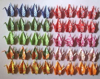 40 Small Origami Cranes Origami Paper Cranes Paper Crane Origami Crane - Made of 7.5cm 3 inches Japanese Washi Chiyogami Paper A