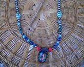Multi Coloured Turtle Necklace Inlaid Stone Unisex