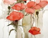 Red Poppies - original watercolor painting / mixed media