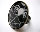 SPIDER WEB Ring - with spider, white on black background, oval image, ox brass