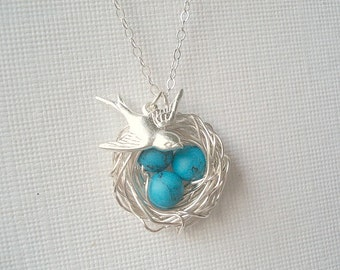 Bird Nest Necklace Turquoise Necklace Mom Necklace Child Nest Necklace Robins Nest Bird Necklace Jewelry Silver Bird Necklace Bird Jewelry