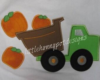 Boutique Custom Personalized Fall Pumpkin Dump Truck Halloween Shirt