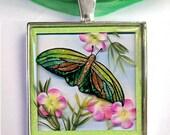 3D Green Butterfly Pendant