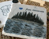 Absorbent Tile Coasters - Loon on the Lake - Rustic Cabin Home Decor - Set of 4 Coasters