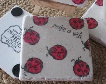 Ladybug Coasters - Ladybug Home Decor - Nature Lover Gift - Set of 4