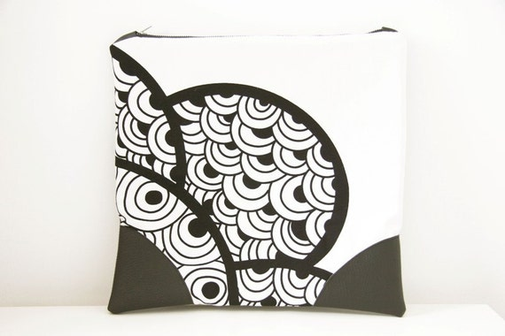 Large leather carry-all pouch, zipper pouch, black & white fold over clutch, one of a kind -25% off