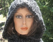 Starry Night Hooded Scarf Scoodie Crochet Knit  Wool Blend