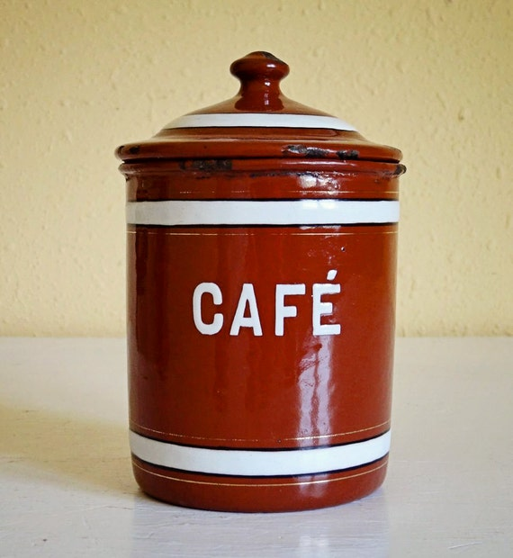 vintage French enamelware canister, Café or coffee tin, reddish brown with white