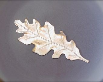 3 matte silver OAK LEAF jewelry embellishment . 55mm x 23mm (ST3b)