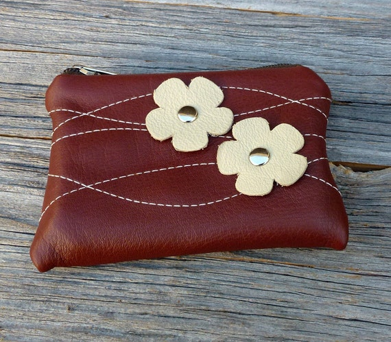 SALE - Leather Pouch Small - Cream Blooms and Wavy Stitching on Red Clay