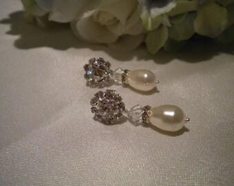 Pearl and rhinestone earrings, Vintage Style Earrings, Art Deco,Teardrop Pearl Earrings- Jennifer