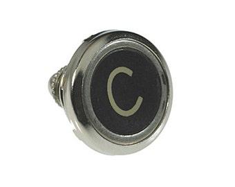 Vintage Typewriter Key Lapel Pin (silver)