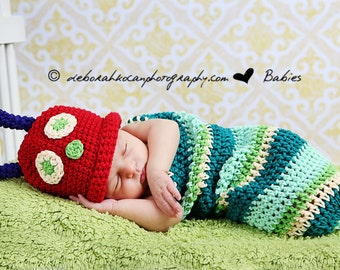 On Sale Newborn Caterpillar Swaddle Sack, Striped Caterpillar Photo Prop Costume,